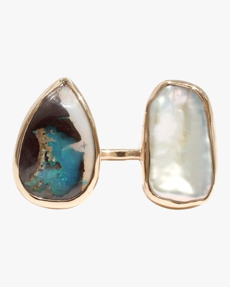 Melissa Joy Manning Boulder Opal And Pearl Open Faced Ring