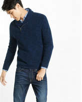 Express marled cotton zip shawl collar sweater
