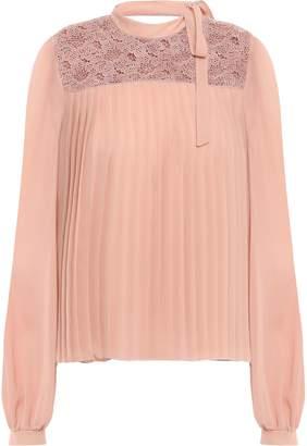 Giambattista Valli Pleated Guipure Lace And Silk-georgette Blouse