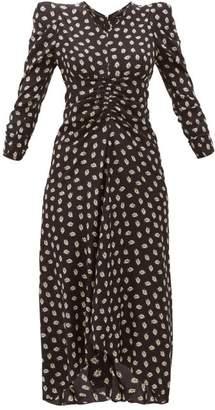 Isabel Marant Albi Ruched Floral-print Silk Dress - Womens - Black White