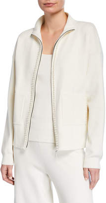 Joan Vass Petite Pearlescent Trim Zip-Front Sweater Jacket