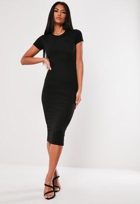 Missguided Black Basic Crew Neck Midi Dress
