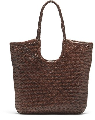 DRAGON DIFFUSION Triple Jump Woven-leather Basket Bag - Dark Brown