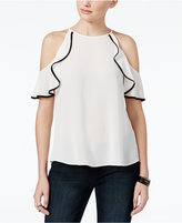 Amy Byer Juniors' Ruffled Off-The-Shoulder Top