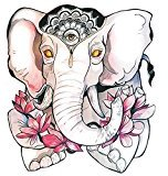 Set of 2 Waterproof Temporary Tattoo Stickers Cute Elephant King Pink Lotus Flowers Design Body Art Make Up Tool