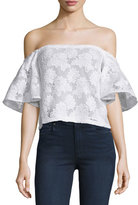 Nicholas Off-The-Shoulder Floral-Lace Top, White