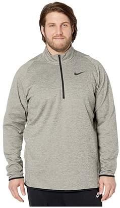 Nike Big Tall Therma Top Long Sleeve 1/4 Zip (Dark Grey Heather/Black) Men's Clothing