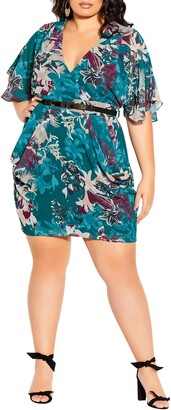 City Chic Envelope Me Floral Fit & Flare Dress