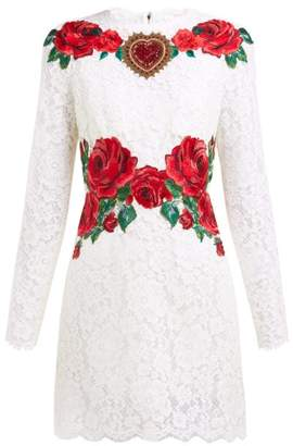 Dolce & Gabbana Rose-embroidered Lace Mini Dress - Womens - White Multi