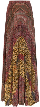 Etro Paisley Print Pleated Maxi Skirt