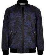 River Island Boys navy camo bomber jacket