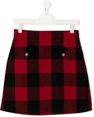 MOSCHINO BAMBINO TEEN check-print embroidered skirt
