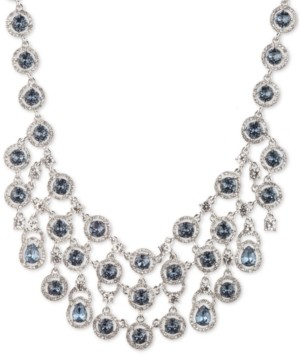 "Givenchy Silver-Tone Stone & Crystal Halo Multi-Row Statement Necklace, 16"" + 3"" extender"