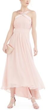 Eliza J Satin & Pleated Chiffon Halter Gown