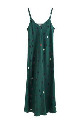 Parker Chinti & Green Painted Spot Silk Slip Dress