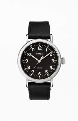 Timex Black Standard Leather Strap Watch