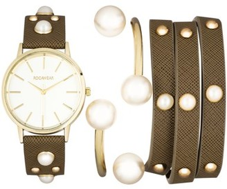 Rocawear Womens Quartz Olive Analog Watch with Bangle Gift Set