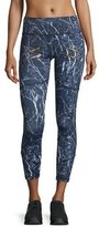 Varley Palms Zip-Detail Compression Running Tights, Navy Marble