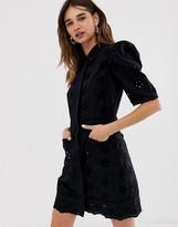 Asos black broderie mini shirt dress