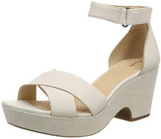 Clarks Women's Maritsa Ruth Ankle Strap Sandals, White Leather