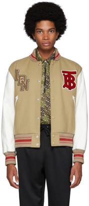 Burberry Beige and White Wool and Leather Padfield Bomber Jacket
