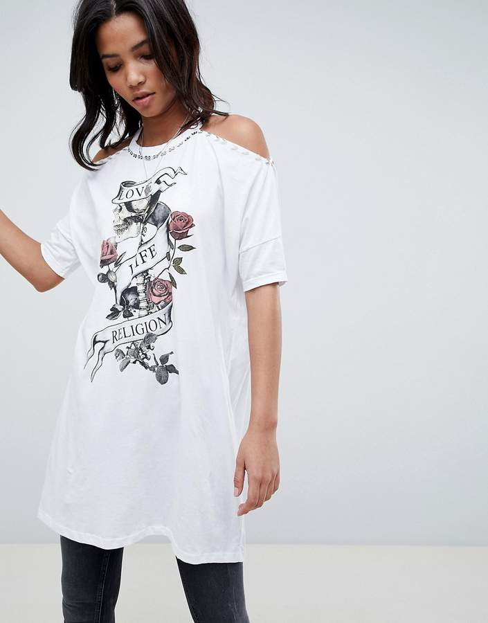 Religion Cold Shoulder Dress With Floral Detail