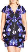 City Chic Plus Size Women's Hydrangea Print Zip Tunic