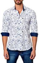 Jared Lang Car Print Long Sleeve Trim Fit Shirt