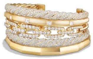 David Yurman Stax Five Row Cuff Bracelet With Diamonds In 18K Gold,