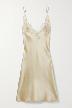 I.D. Sarrieri In The Mood For Love Metallic Lace-trimmed Silk-blend Satin Chemise - Gold