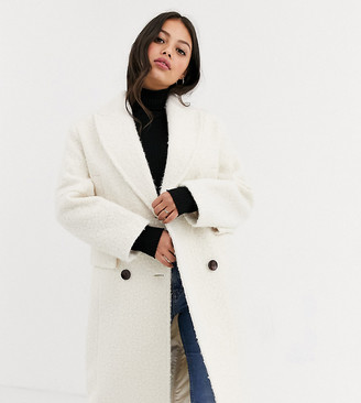 Topshop Petite tailored coat in ivory