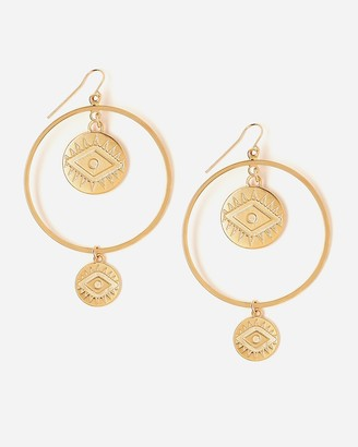 Express Tess + Tricia Gold Large Coin Eye Earring