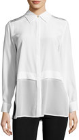 Misook Long-Sleeve Silk Georgette Top, White