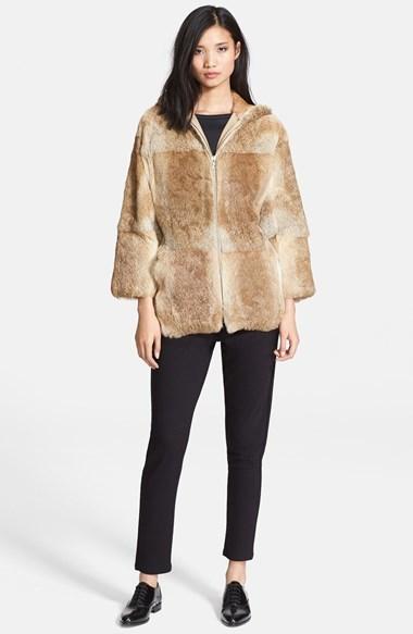 A.P.C. Hooded Genuine Rabbit Fur Jacket