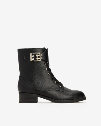 Express Lace-Up Buckle Combat Boots