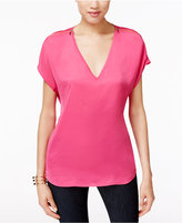 INC International Concepts Petite Zip-Shoulder V-Neck Top, Only at Macy's