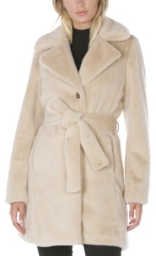 Laundry by Shelli Segal Belted Faux-Fur Coat