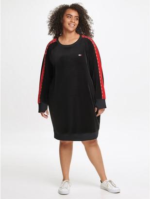 Tommy Hilfiger Essential Curve Logo Tape Velour Dress
