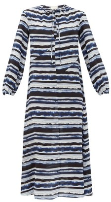 Marios Schwab On The Island By Paloma Printed Silk Crepe-de-chine Dress - Womens - Blue Stripe