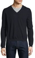 Just Cavalli Long-Sleeve V-Neck Wool Sweater, Blue/Navy
