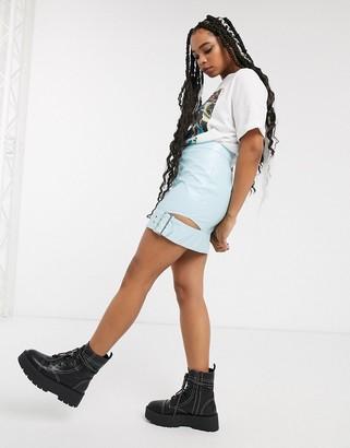 Asos DESIGN vinyl mini skirt with buckle