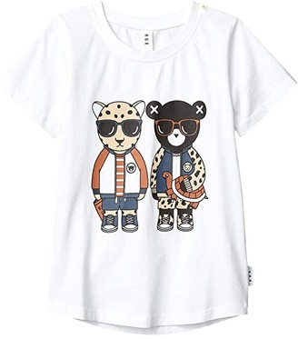 HUXBABY Leopard Friends T-Shirt (Little Kids/Big Kids) (White) Kid's Clothing