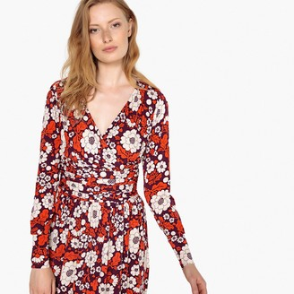 La Redoute Collections Floral Print Wrapover Dress with Gathered Waist