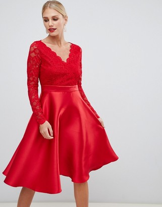 Asos City Goddess prom dress with lace sleeves-Red