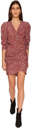 BA&SH Crystal Floral Print Draped Mini Dress