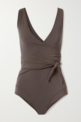 Lisa Marie Fernandez Net Sustain Dree Louise Stretch-crepe Wrap Swimsuit - Dark brown