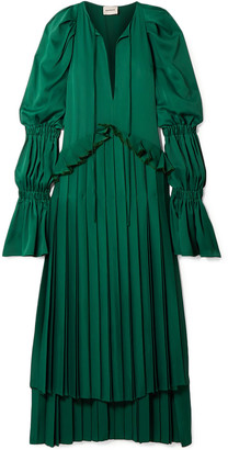 KHAITE Cara Oversized Ruffled Pleated Satin-crepe Maxi Dress