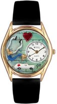 Whimsical Watches Women's C0610010 Classic Gold EMT Navy Black Leather And Goldtone Watch