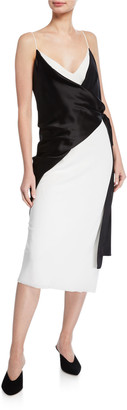 UNTTLD Salome Sleeveless Trompe L'oeil Wrap Dress