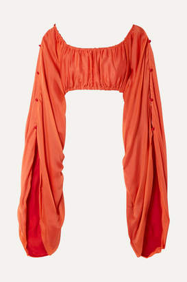 Cult Gaia Calliope Gathered Cropped Silk-satin Top - Orange